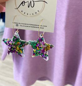 Ow Designs OW Designs Mardi Gras Confetti Star Hoop