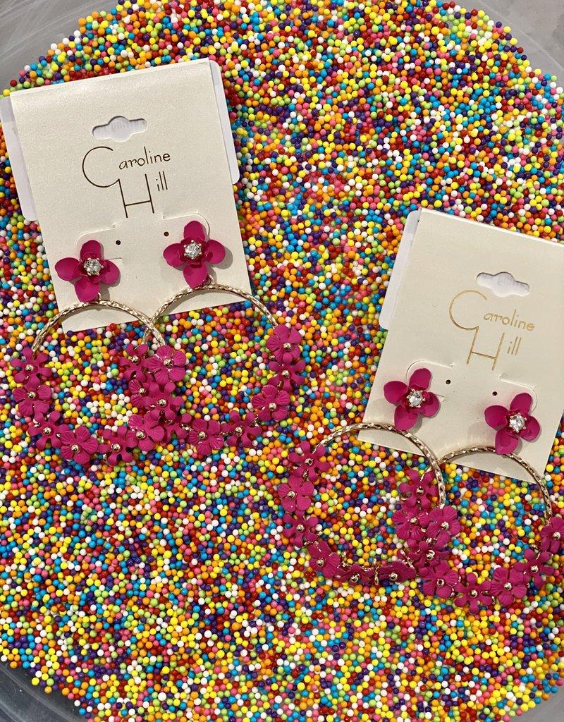 Caroline Hill Grawp Flower Earring Fuschia