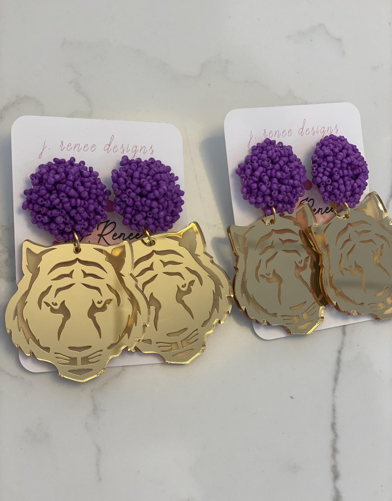 Tiger Face Etched Earring