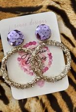 Glitter Hoops Purple Sequin Earring