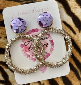 Glitter Hoops Purple Sequin Earring