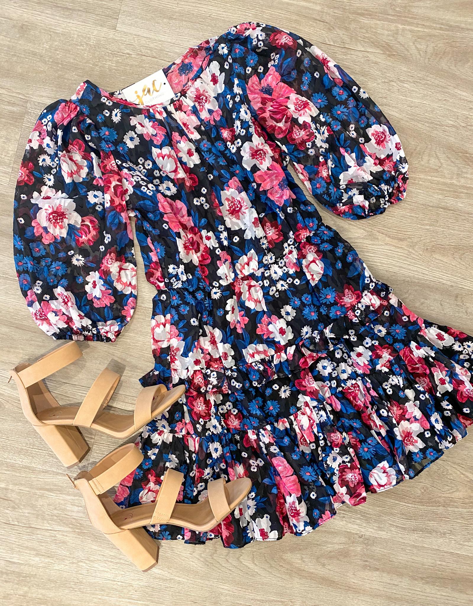 Wild Floral Ruffle Dress