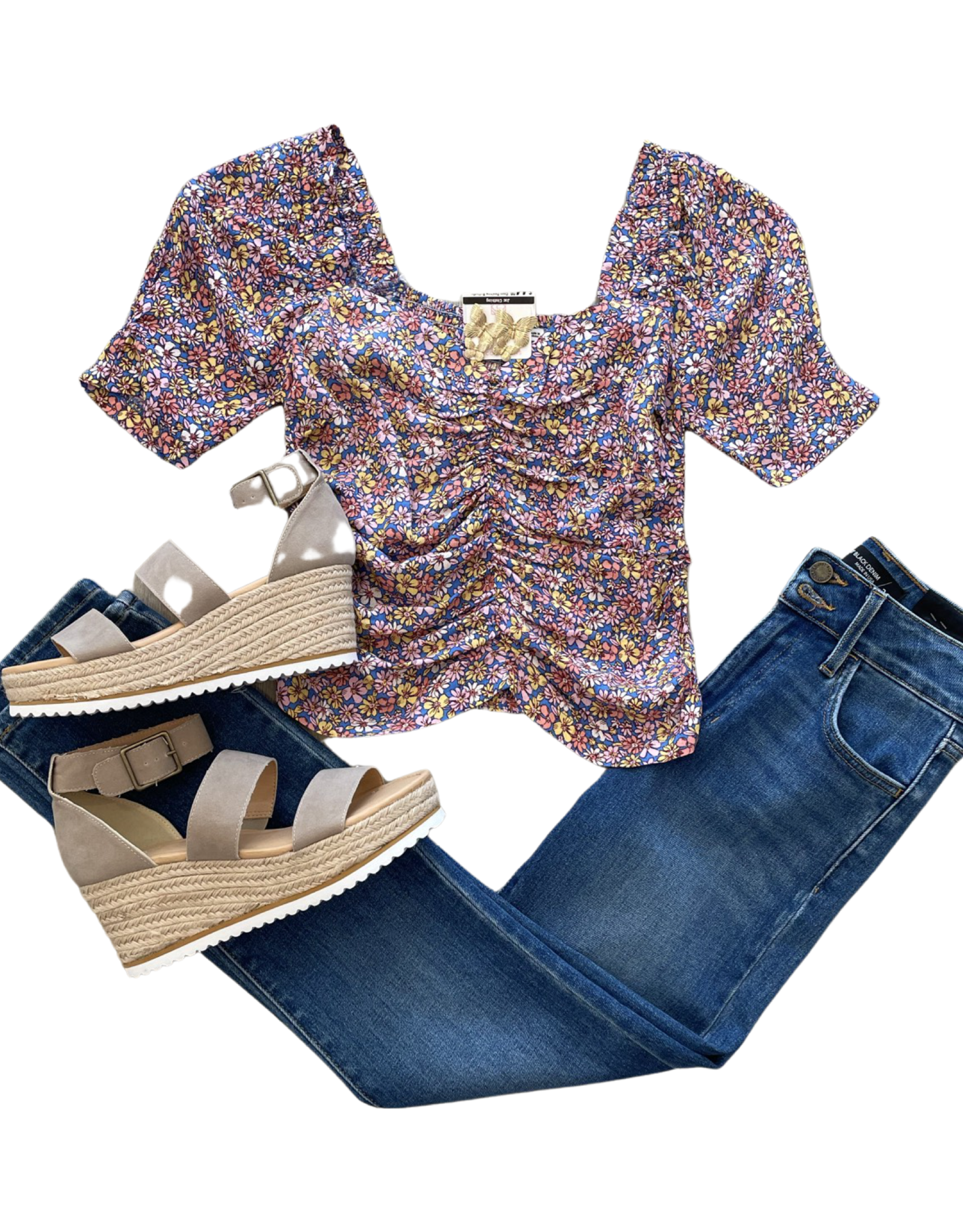 Blue Ditsy Top