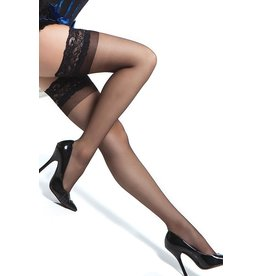 SHEER THIGH HIGHS WITH SILICONE GRIP BLACK OS