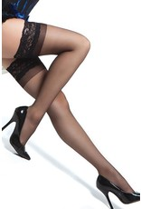 COQUETTE SHEER THIGH HIGHS WITH SILICONE GRIP BLACK OSXL