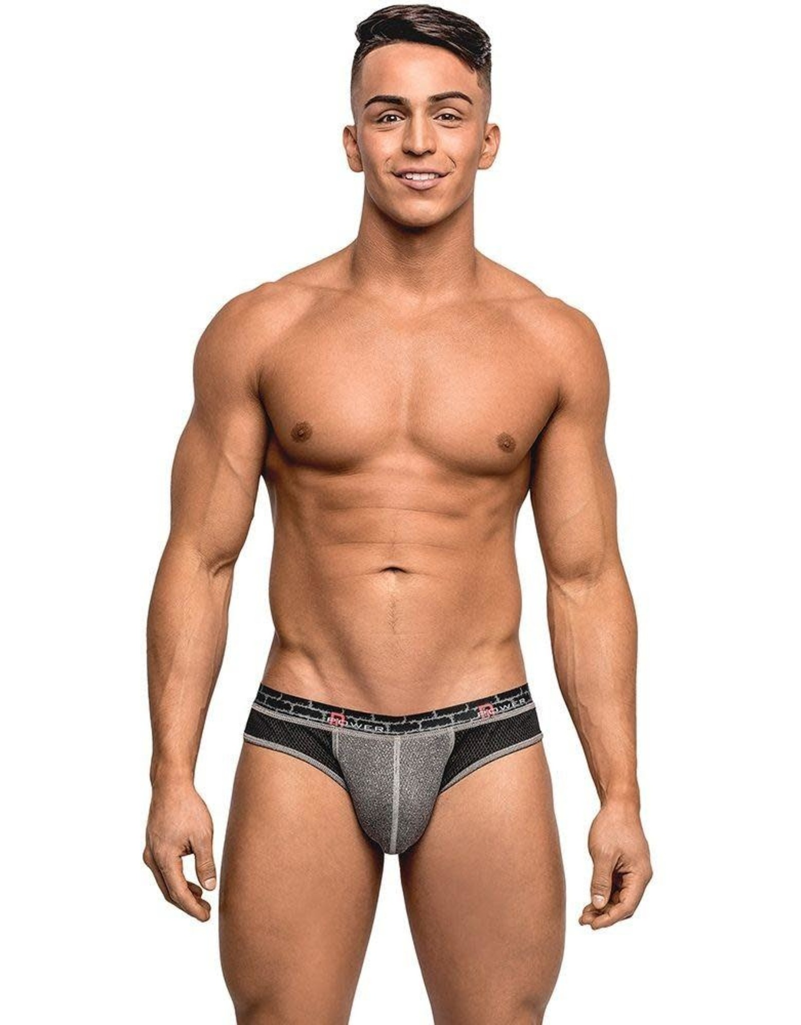 MALE POWER BLACK AND GREY REVERSIBLE THONG S/M