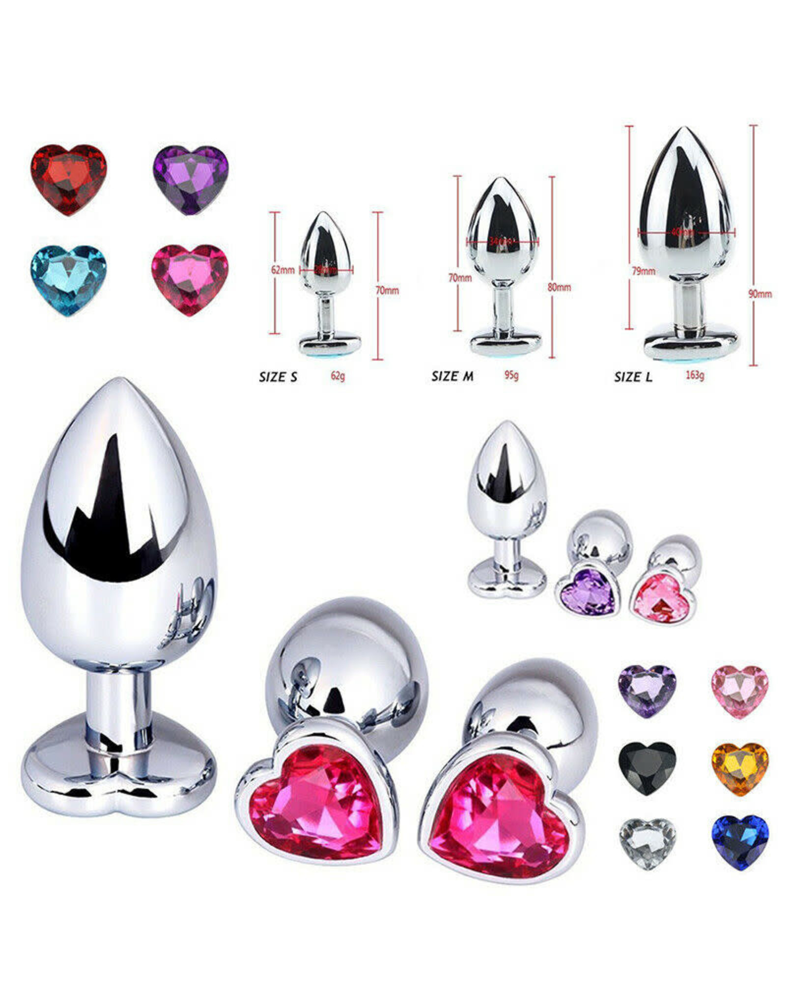 STAINLESS STEEL HEART BUTT PLUG - LARGE