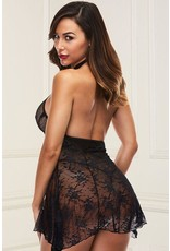 HEAD OVER HEELS BLACK LACE BABYDOLL S/M