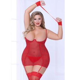 TONGUE & PEEK RED CHEMISE WITH CUFFS OSXL
