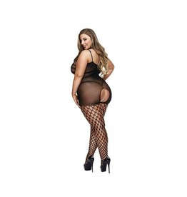 SPIDER NET CROTCHLESS BODY OSXL - BLACK