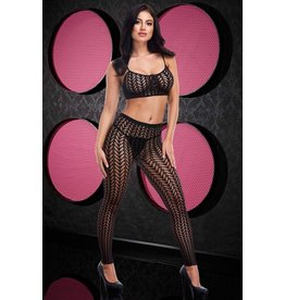STUCK TOGETHER, TORN JACQUARD CROP TOP & PANTS SET OS - BLACK