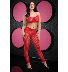 LAPDANCE LINGERIE STUCK TOGETHER, TORN JACQUARD CROP TOP & PANTS SET OS red
