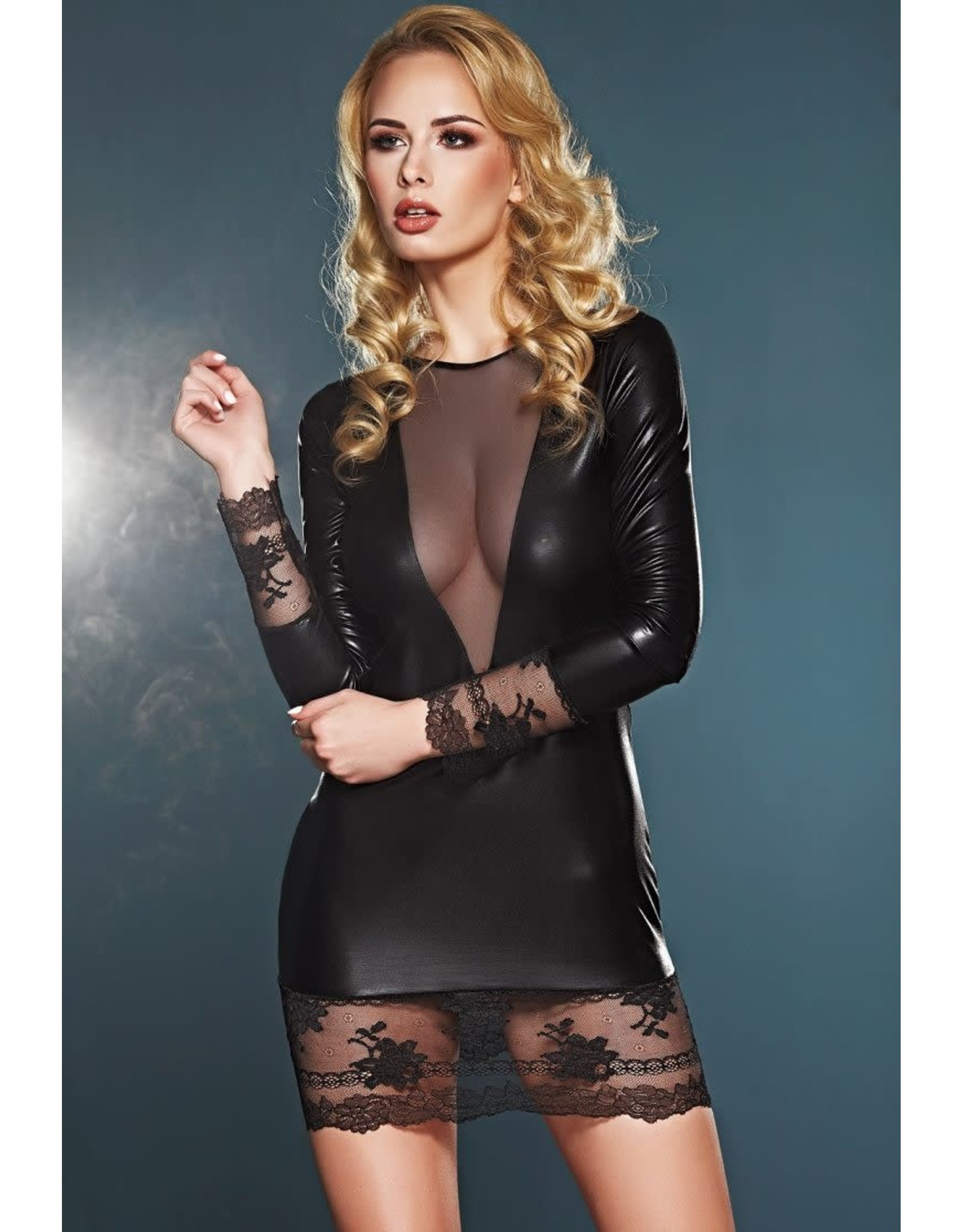 7 HEAVEN - ELEGANT LONG-SLEEVE WET-LOOK DRESS WITH LACE AND TULLE DETAILS - MEDIUM - BLACK