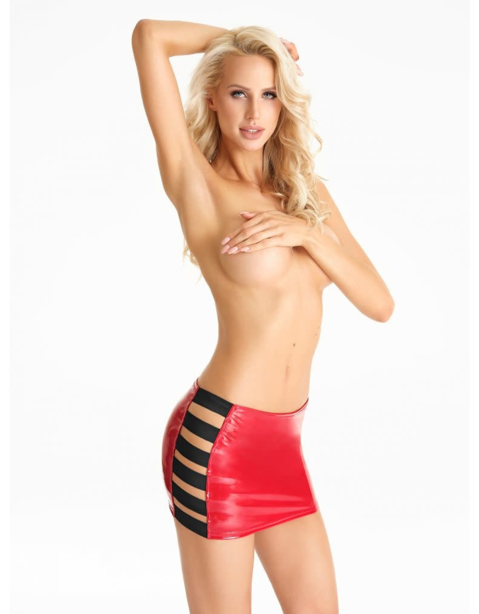 7 HEAVEN - RED MINI-SKIRT WITH ELASTIC SIDES - RED - X-LARGE