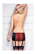 7 HEAVEN - BLACK SATIN AND TIGER SPOTS MICROFIBRE GARTER STOCKINGS INCLUDED - LARGE