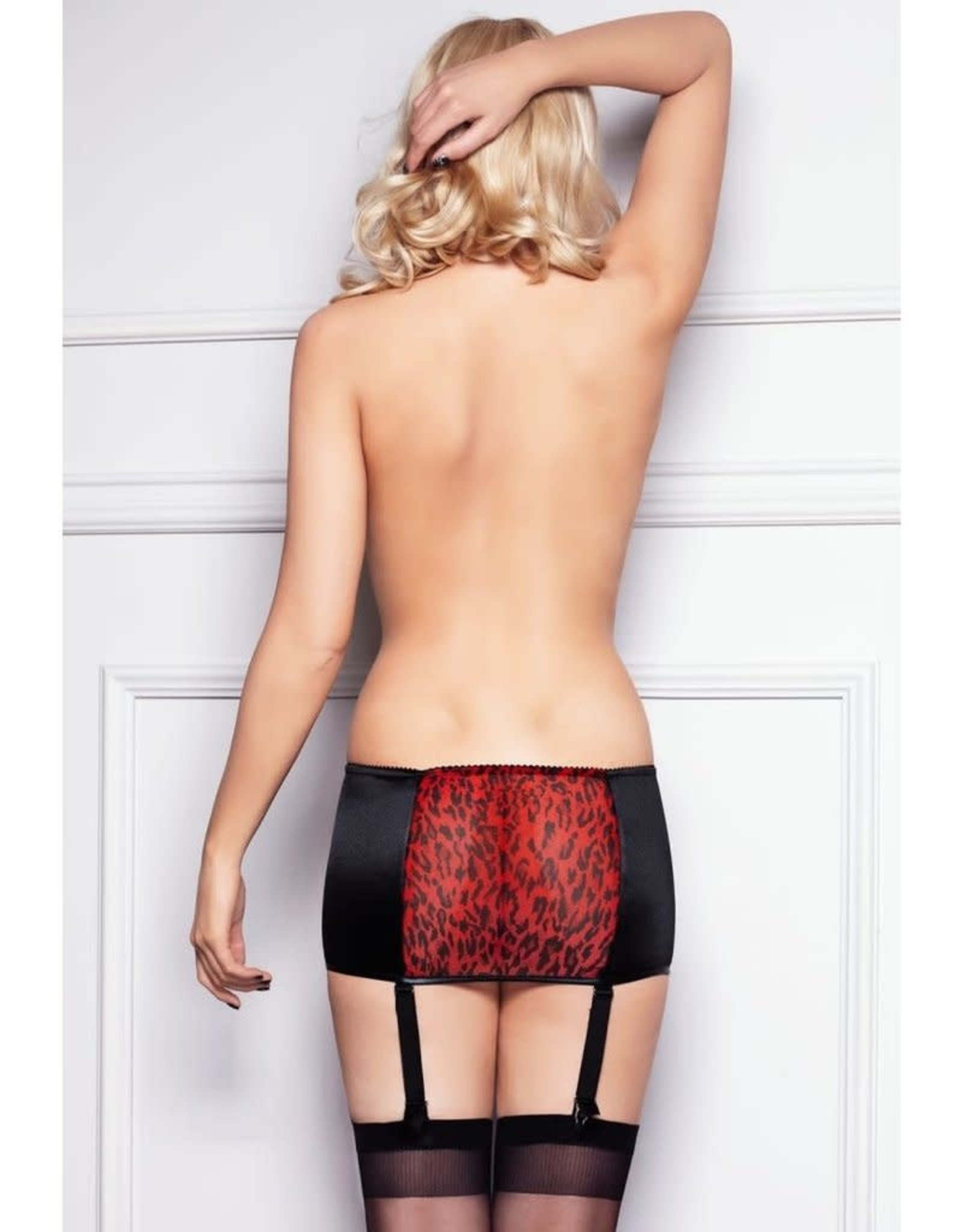 7 HEAVEN 7 HEAVEN - BLACK SATIN AND TIGER SPOTS MICROFIBRE GARTER STOCKINGS INCLUDED - LARGE