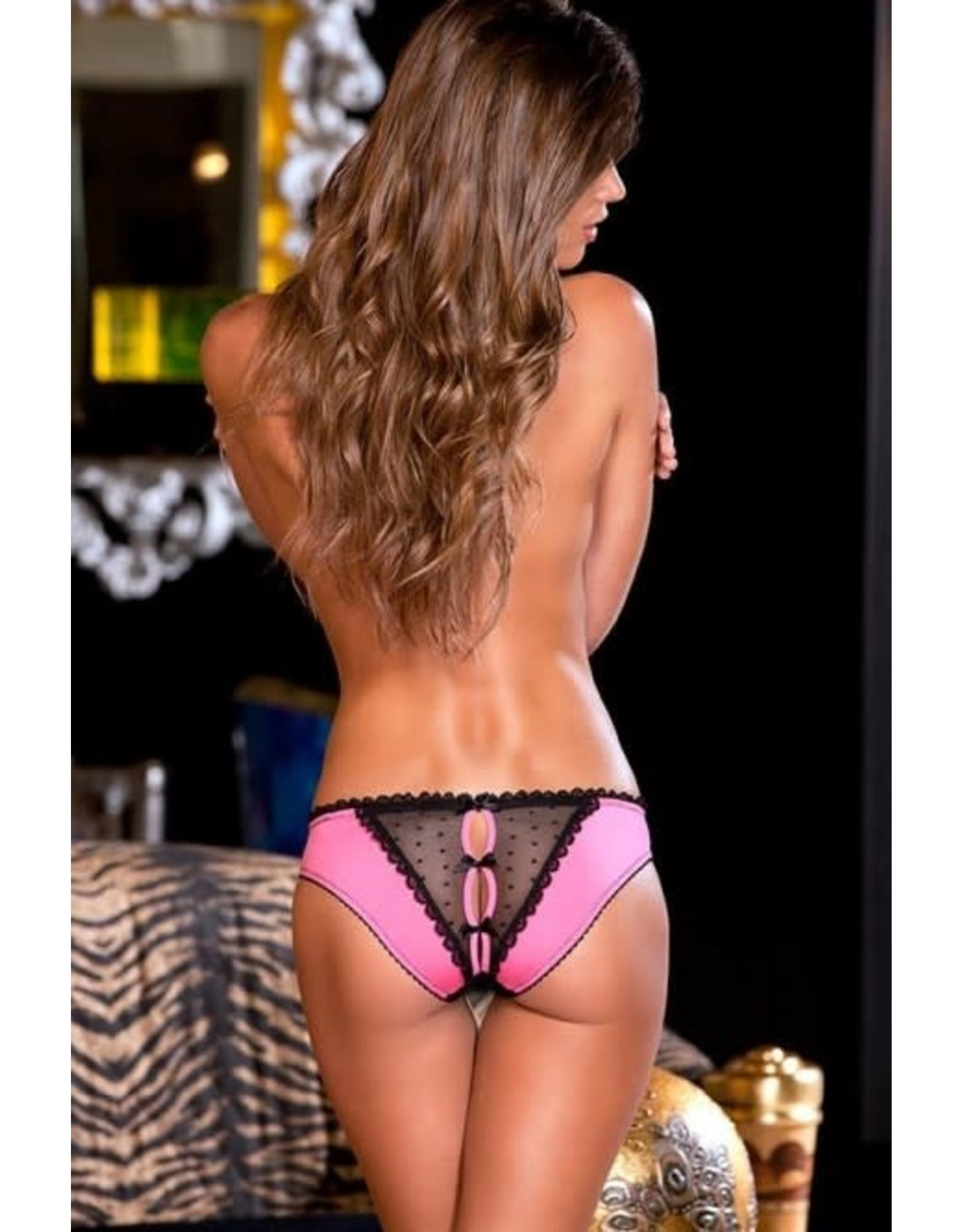 RENE ROFE LINGERIE FRILLS CROTCHLESS PANTY WITH BACK BOWS - PINK - S/M