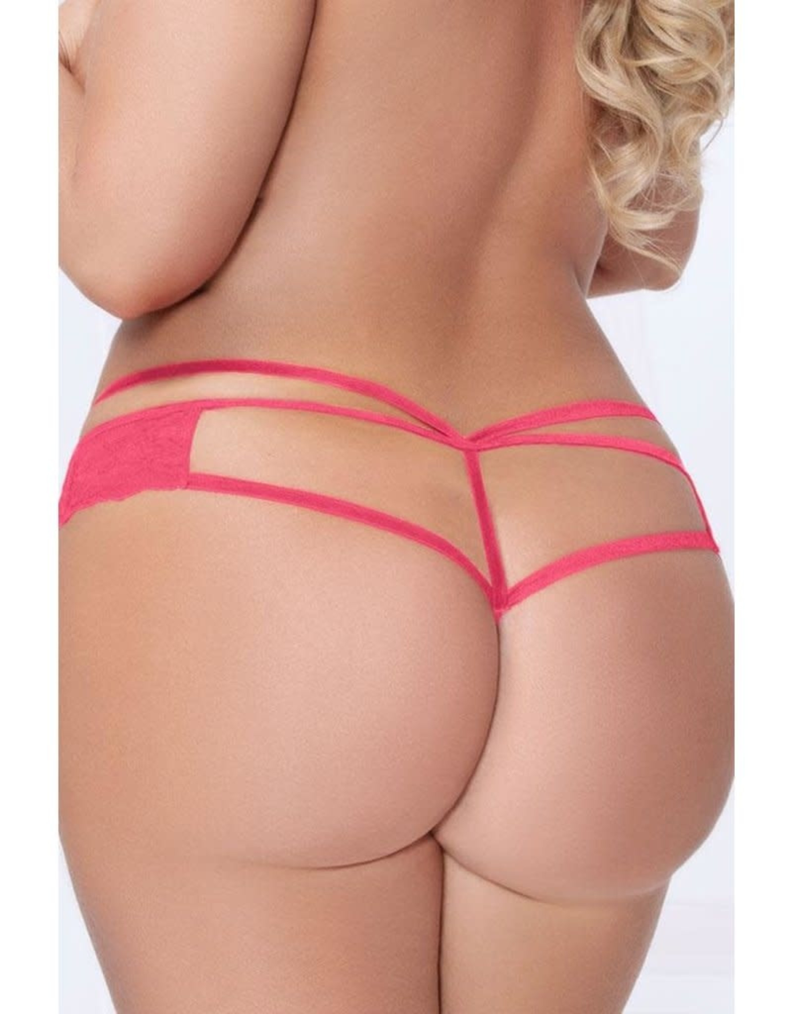 DRIVE ME CRAZY CORAL LACE THONG - M