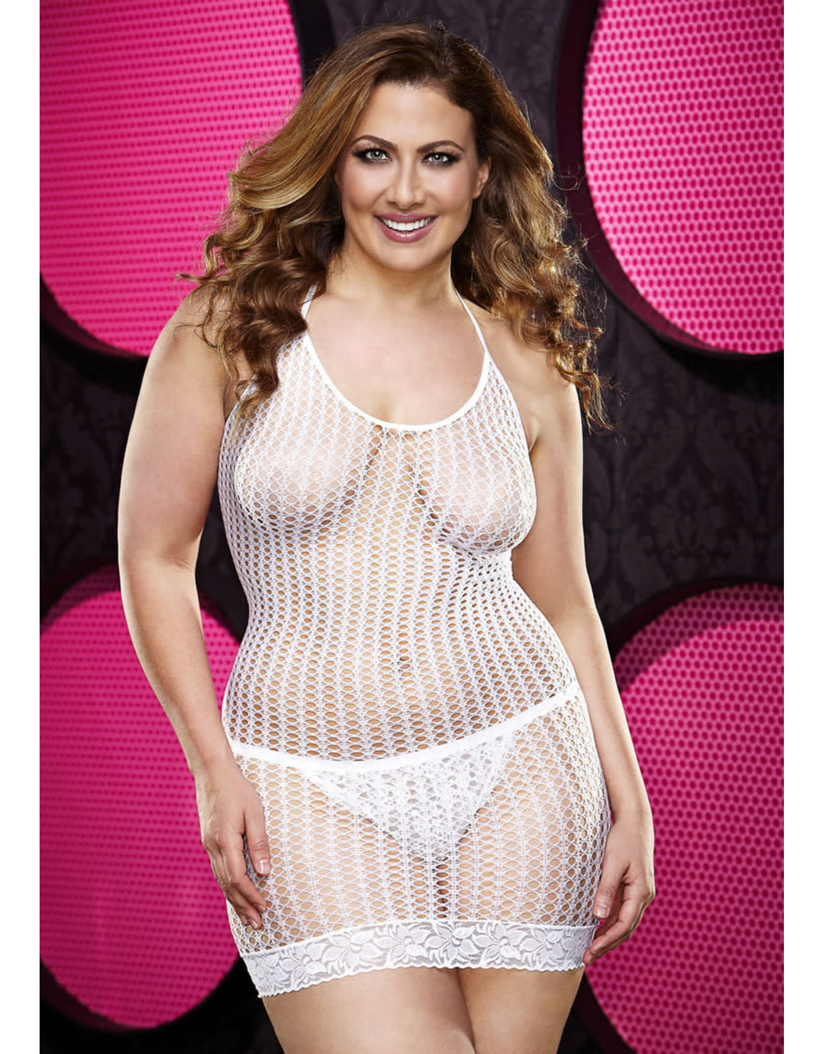 LACE MINI DRESS - WHITE PLUS SIZE
