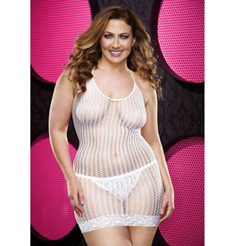 LAPDANCE LINGERIE LACE MINI DRESS - WHITE PLUS SIZE