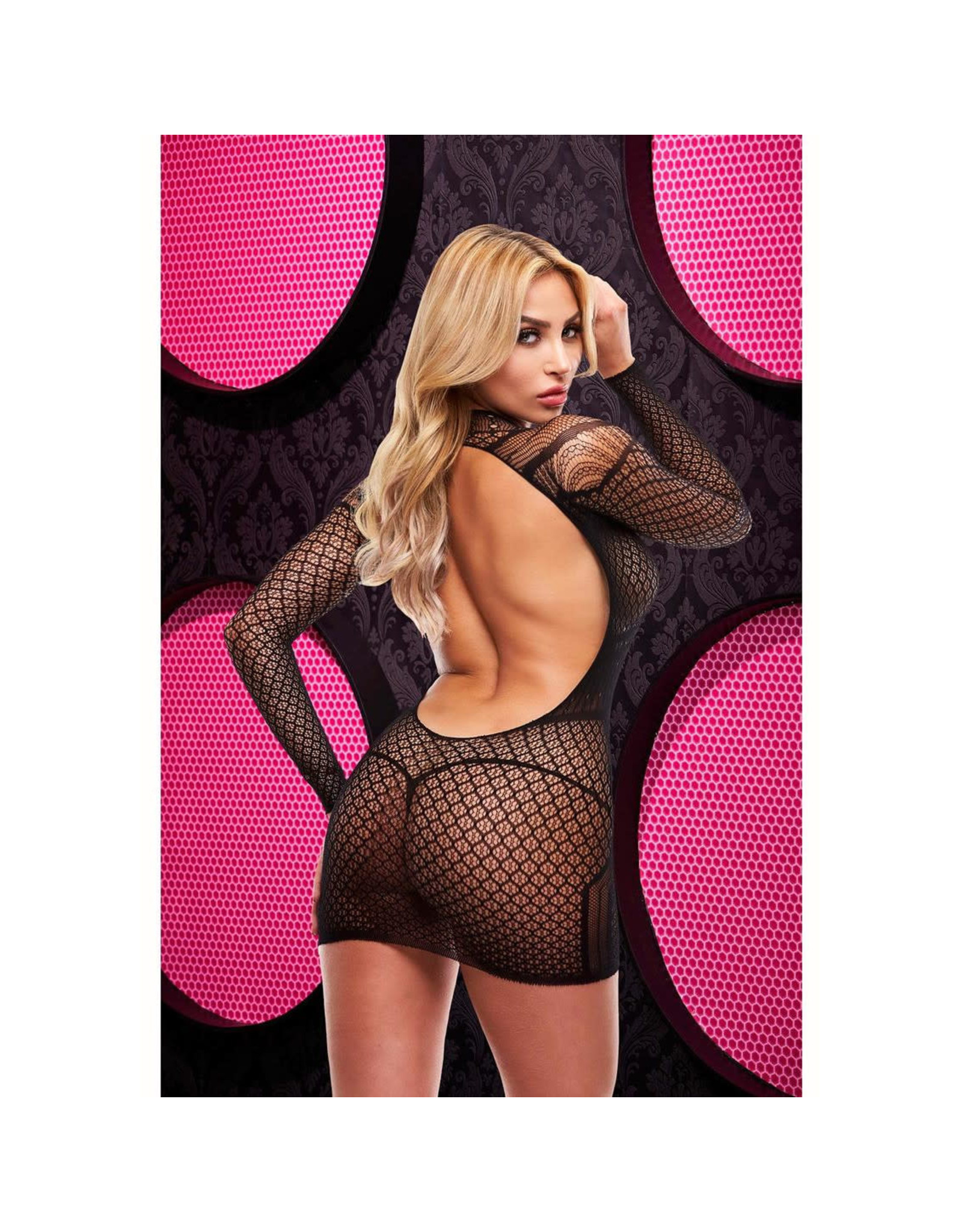 LONG SLEEVE OPEN BACK MINI DRESS - OS - BLACK