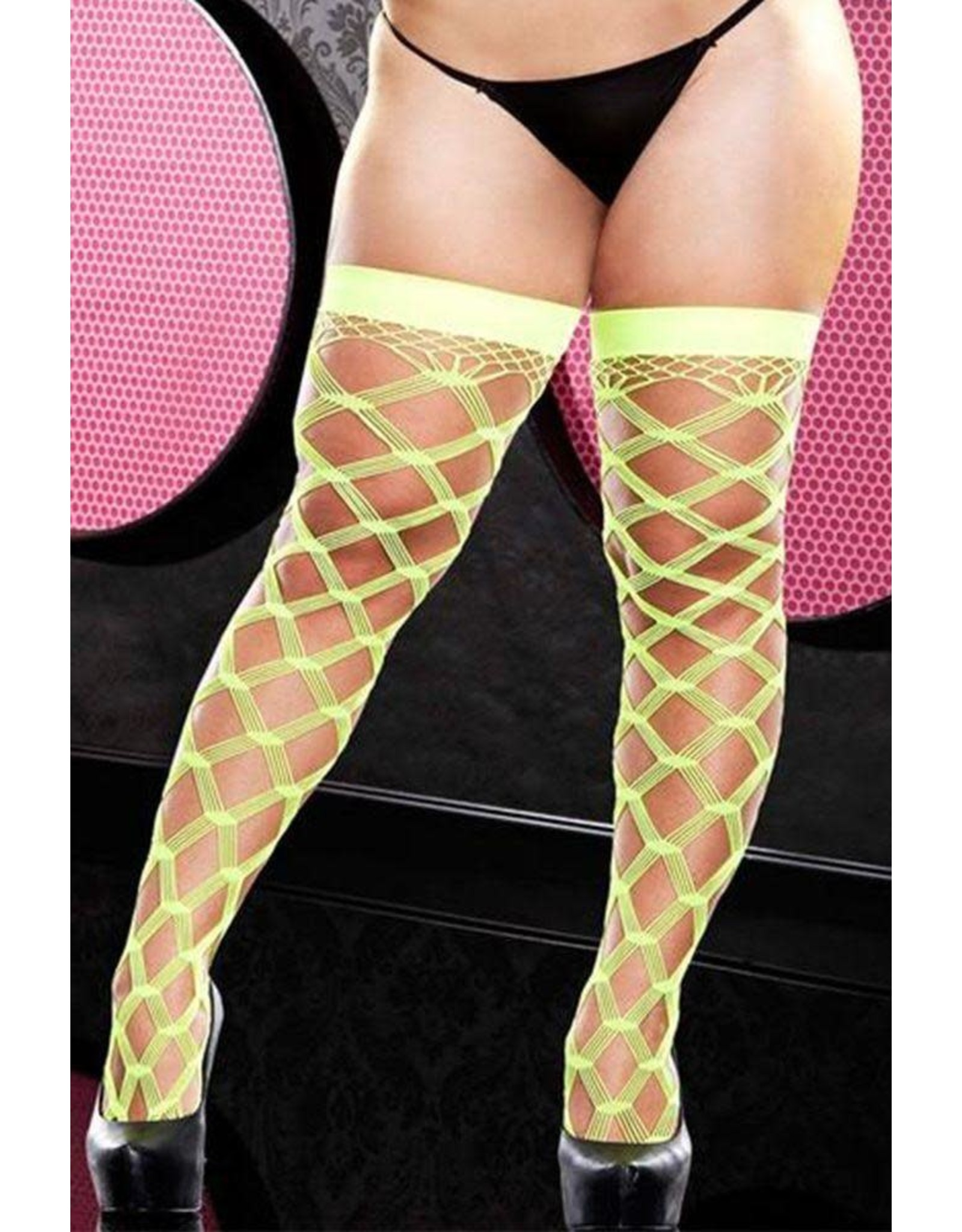LAPDANCE LINGERIE DIAMOND NET THIGH HIGH OSXL - YELLOW