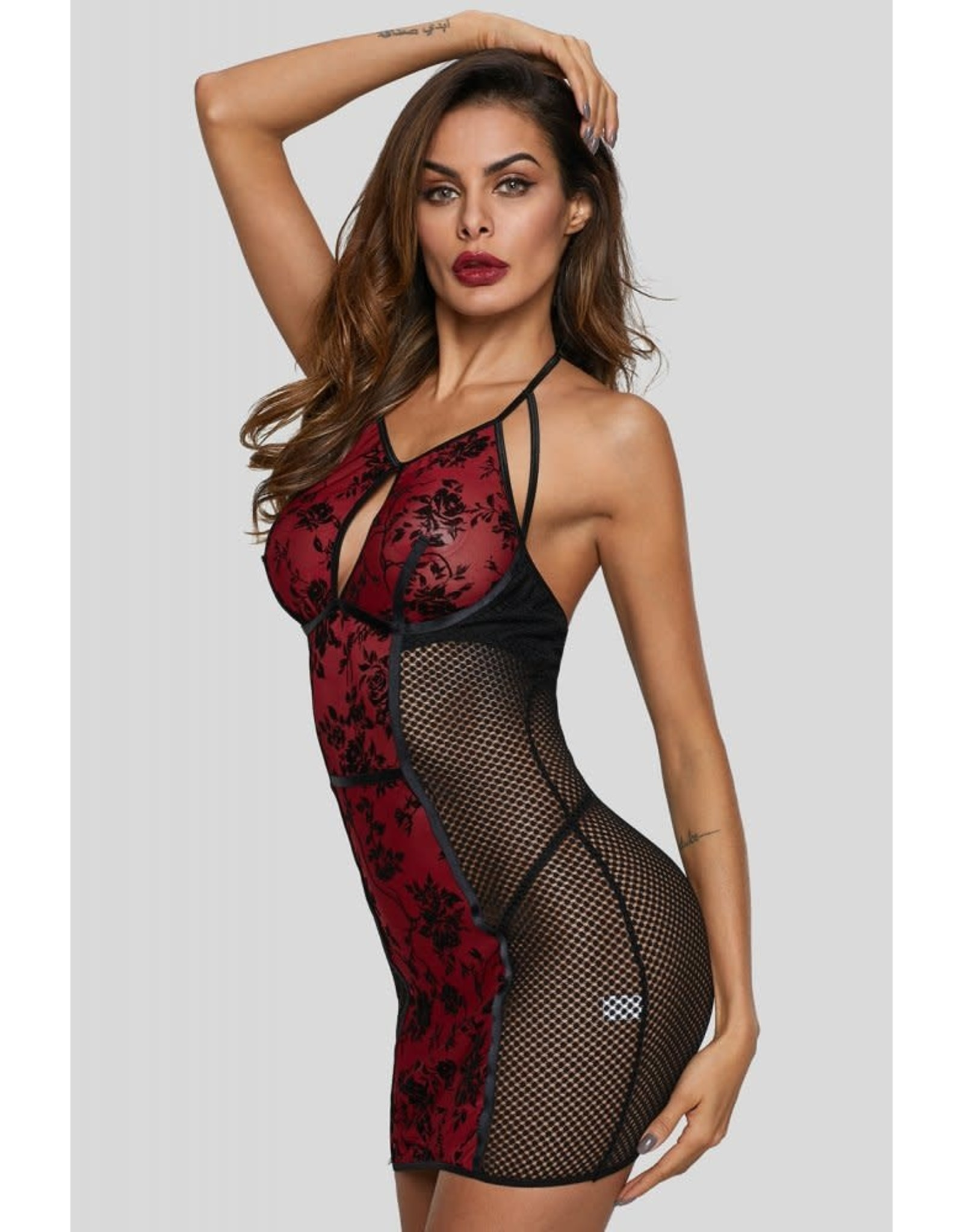 JULIET ROSES CHEMISE IN BLACK - SMALL (4-6)