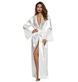 WHITE GLAMOUR VALENTINE LONG ROBE - SMALL
