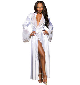 WHITE GLAMOUR VALENTINE LONG ROBE - LARGE