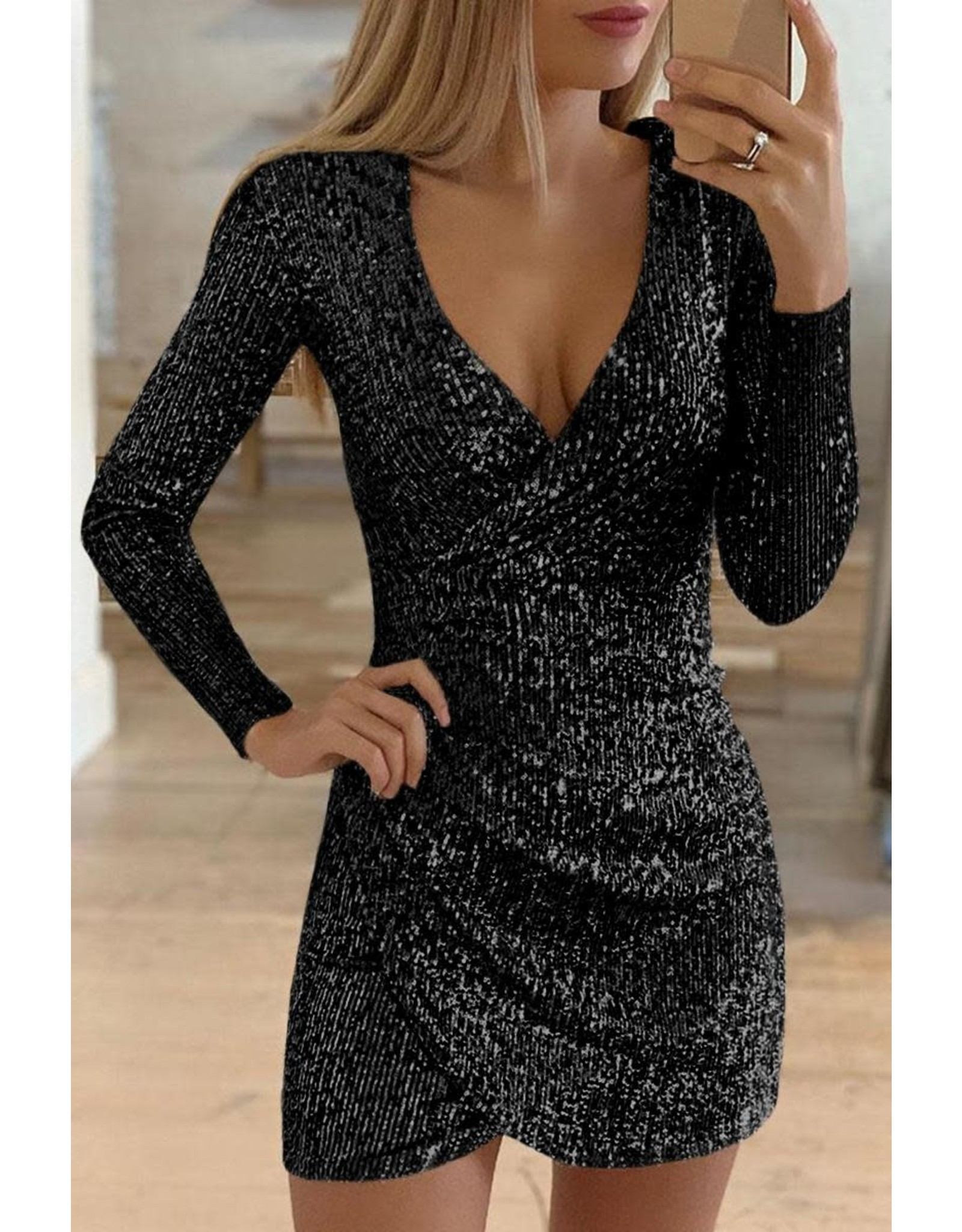 BLACK SURPLICE WRAP RUCHED SEQUIN BODYCON DRESS - LG