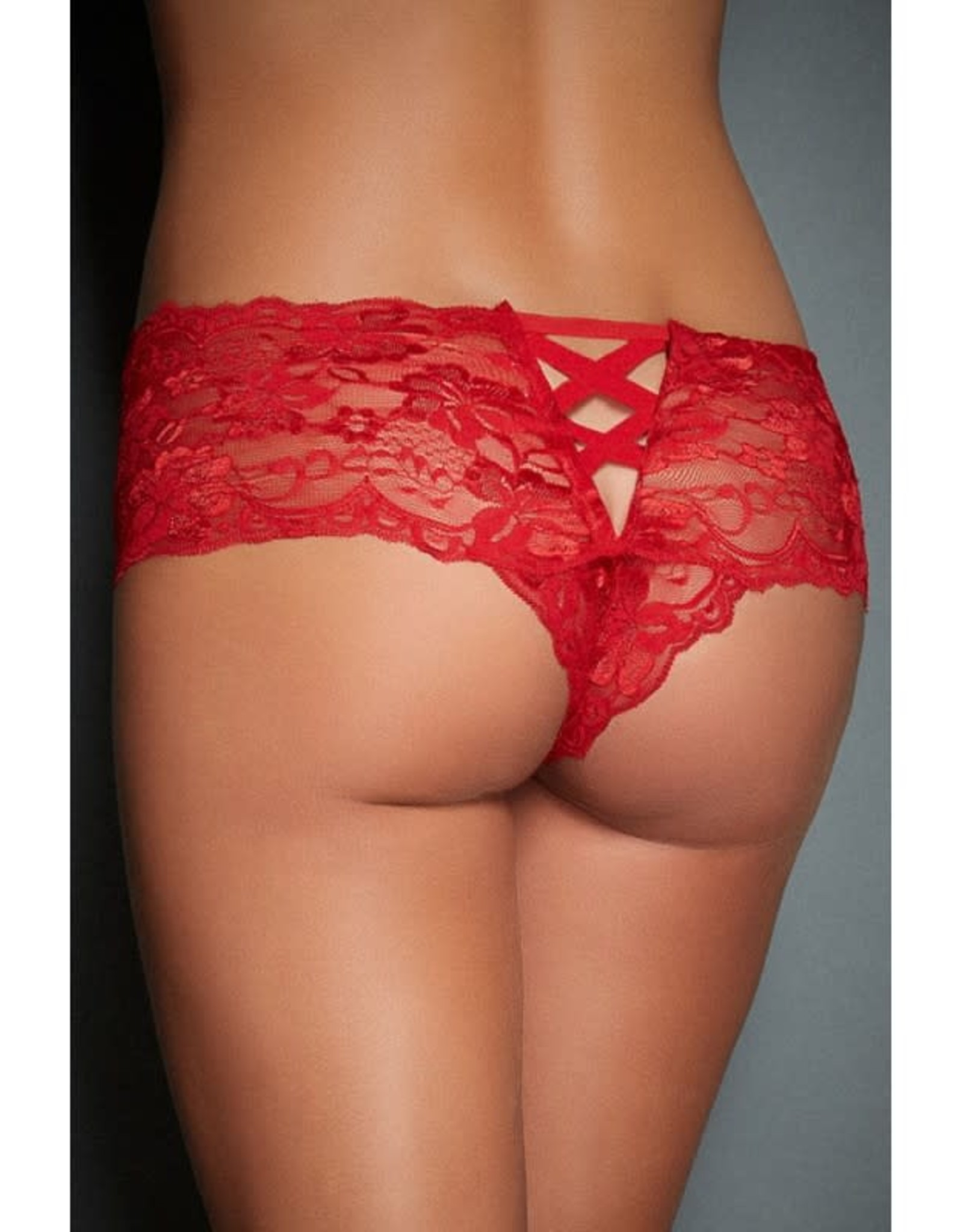 RED LACE NAUGHTY KNICKERS - OS