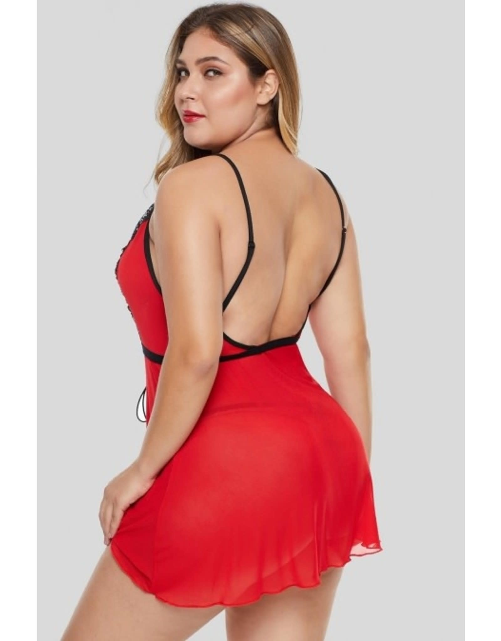 RED LACE-UP PLUS SIZE BABYDOLL - 3X
