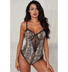 SPAGHETTI STRAP BACKLESS SNAKE PRINTED TEDDY - LG
