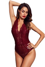 RED V NECK HOLLOW-OUT LACE BODYSUIT - SM