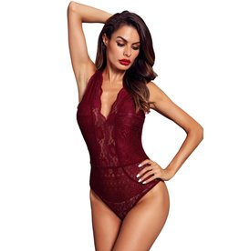 RED V NECK HOLLOW-OUT LACE BODYSUIT - LARGE
