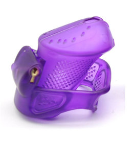 PLASTIC COCK CAGE - LOCKABLE MALE CHASTITY DEVICE WITH LOCKS AND 3 RINGS - PURPLE