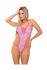 PINK LIPSTICK - V IS FOR VIXEN BODYSUIT - PINK - S/M