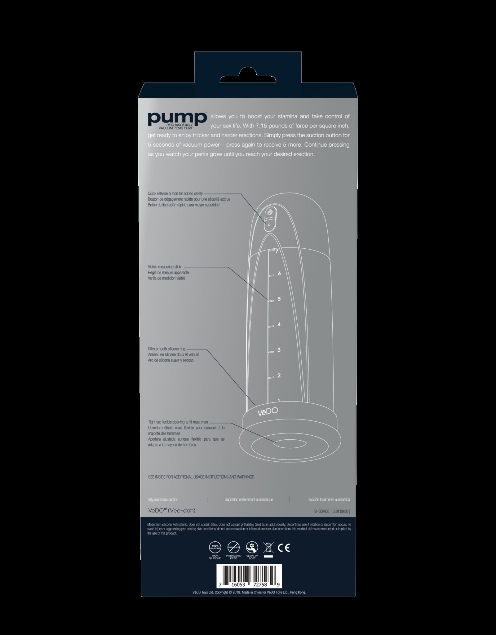 VEDO - PUMP RECHARGEABLE VACUUM PENIS PUMP - JUST BLACK