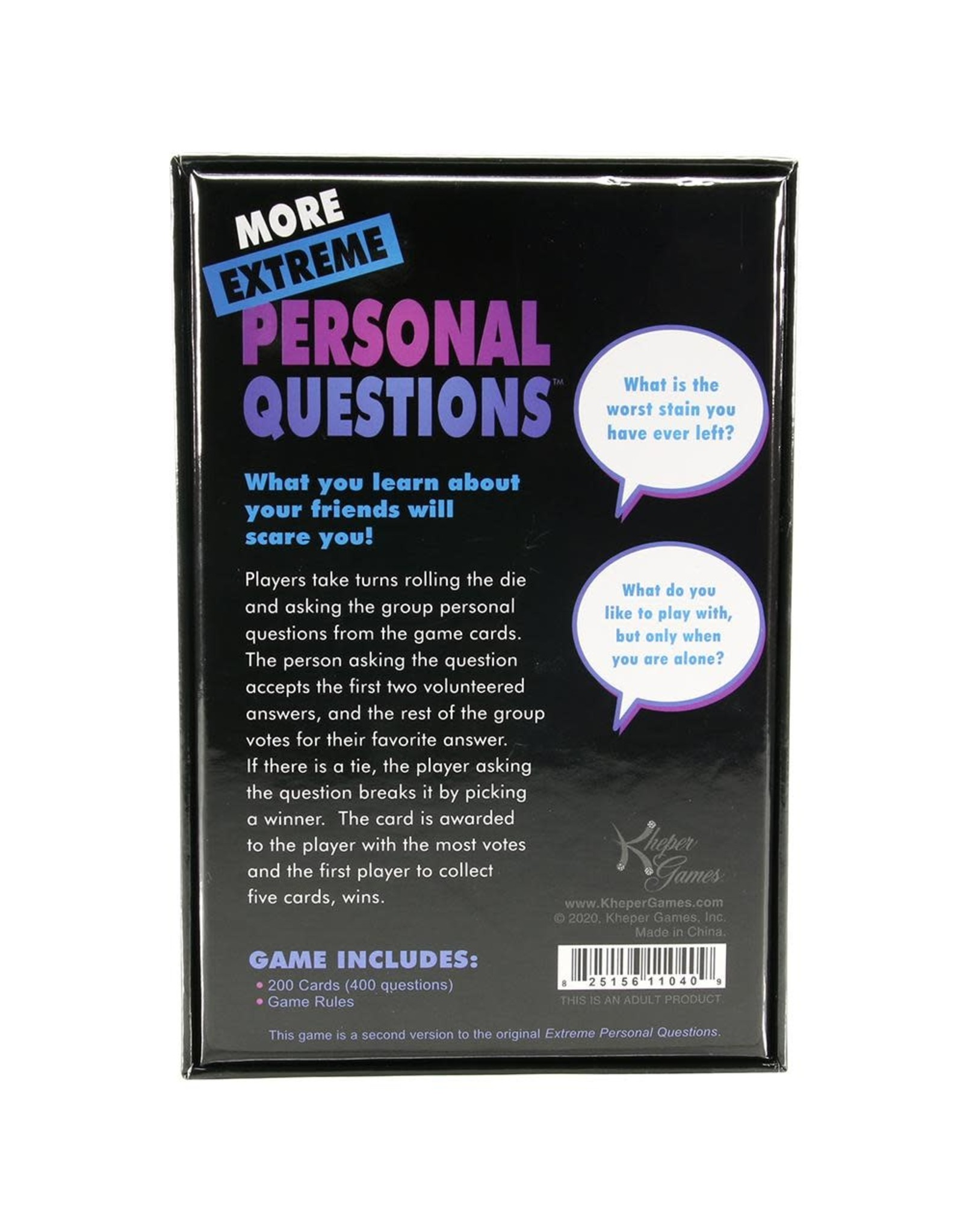 MORE EXTREME PERSONAL QUESTIONS PARTY GAME