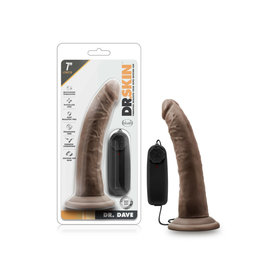 BLUSH - DR. SKIN - DR. DAVE - 7 INCH VIBRATING COCK WITH SUCTION CUP - CHOCOLATE