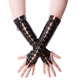 WETLOOK LACE UP GLOVES - BLACK