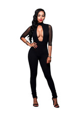 PLUNGING BLACK JUMPSUIT - XLARGE