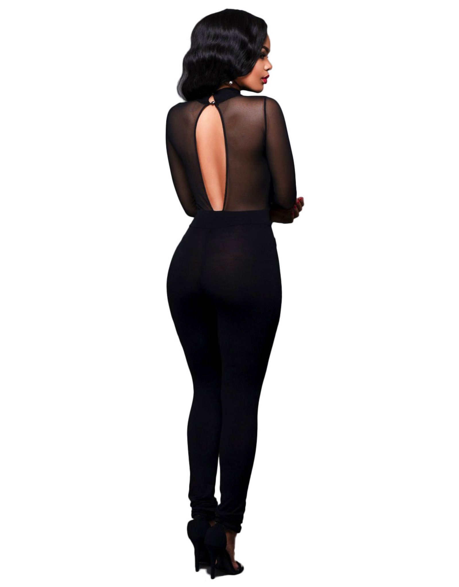 PLUNGING BLACK JUMPSUIT