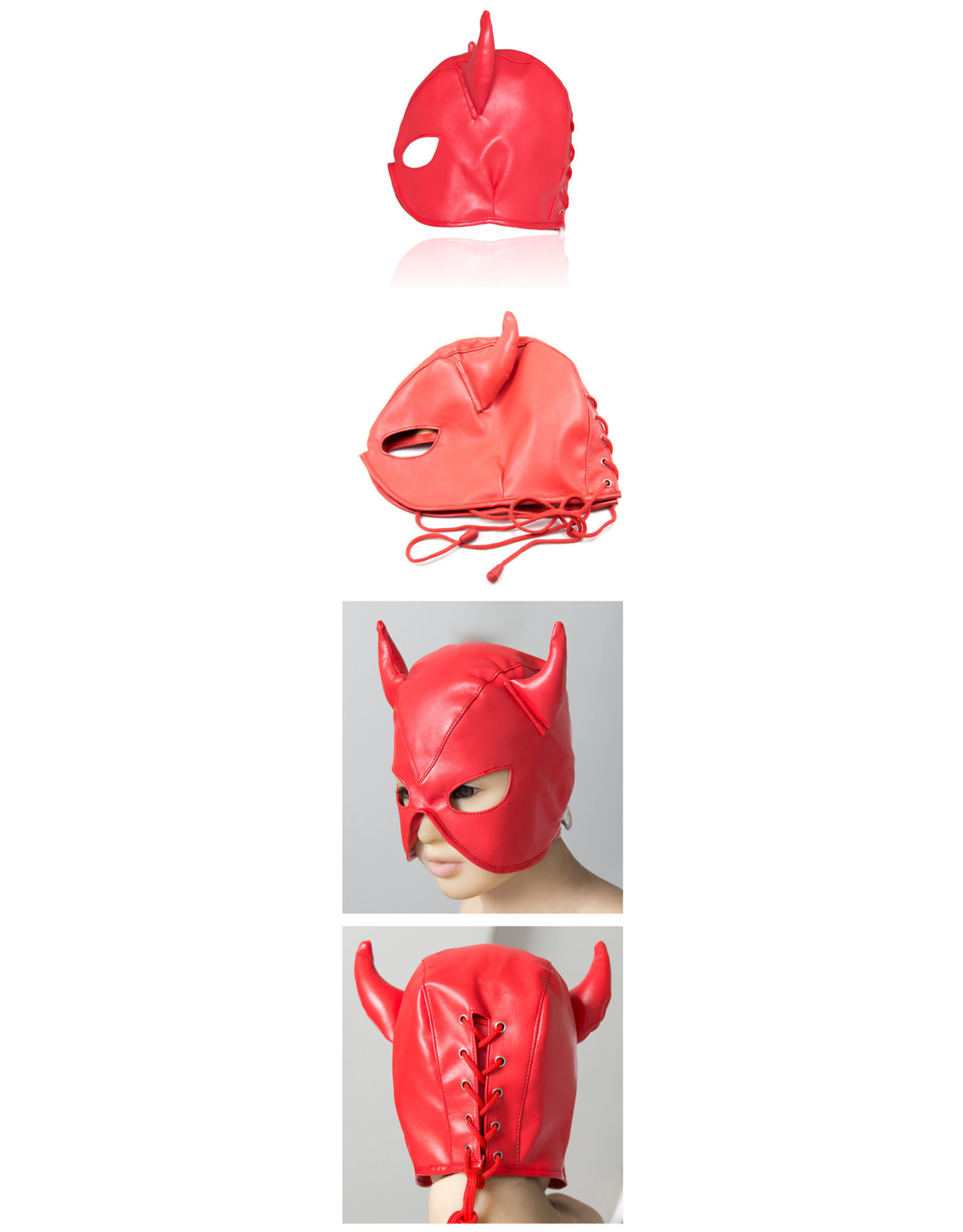 BULL DEMON HOOD MASK RED