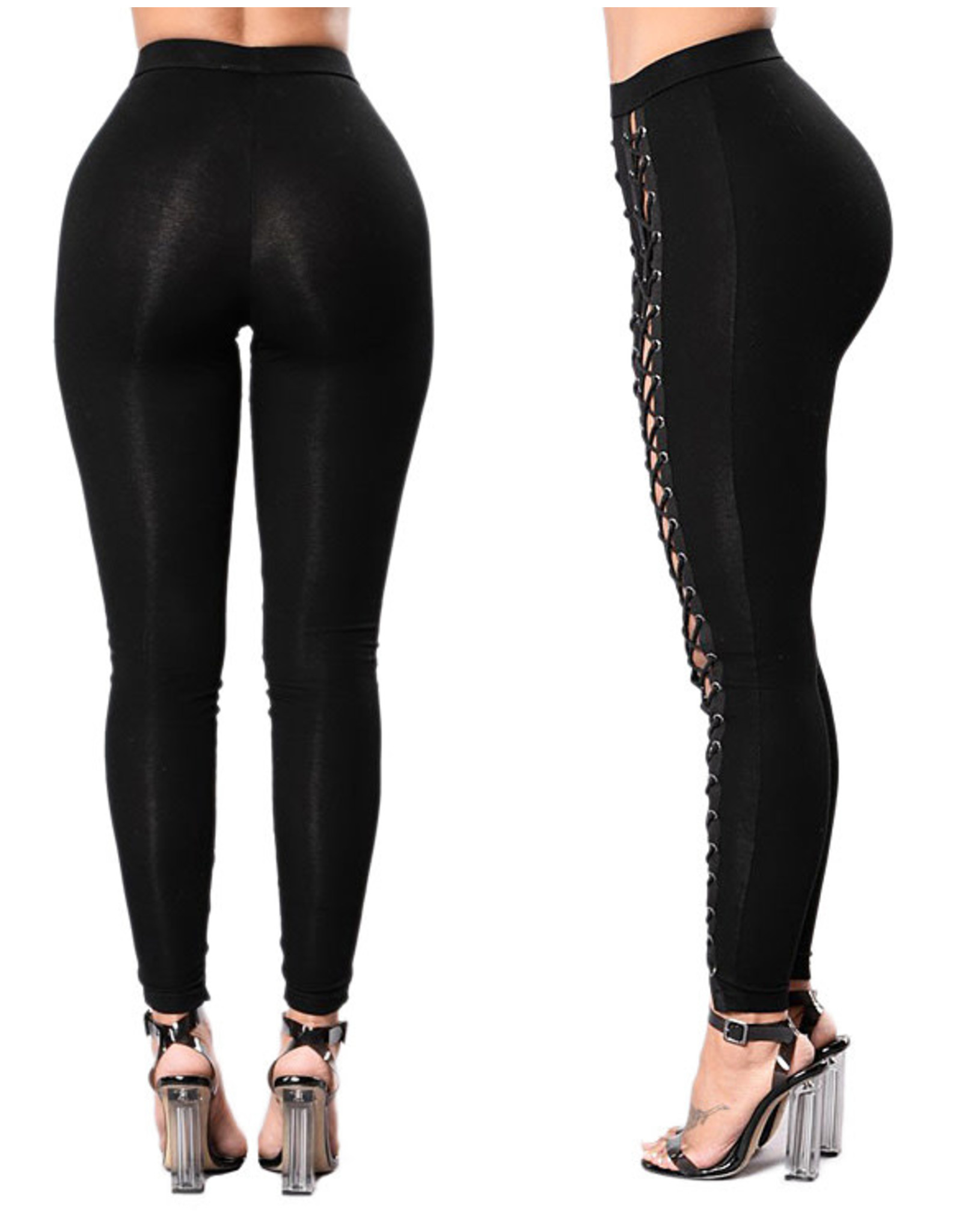 HIGH-RISE LACE-UP FRONT BODYCON LEGGINGS SMALL