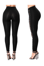 HIGH-RISE LACE-UP FRONT BODYCON LEGGINGS LARGE