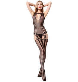 STRIPED SUSPENDER BODYSTOCKING