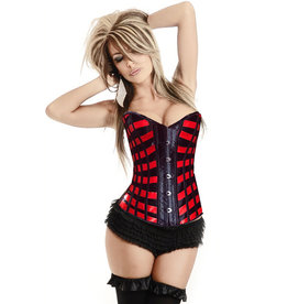 BURLESQUE RED RIBBONS CORSET LARGE