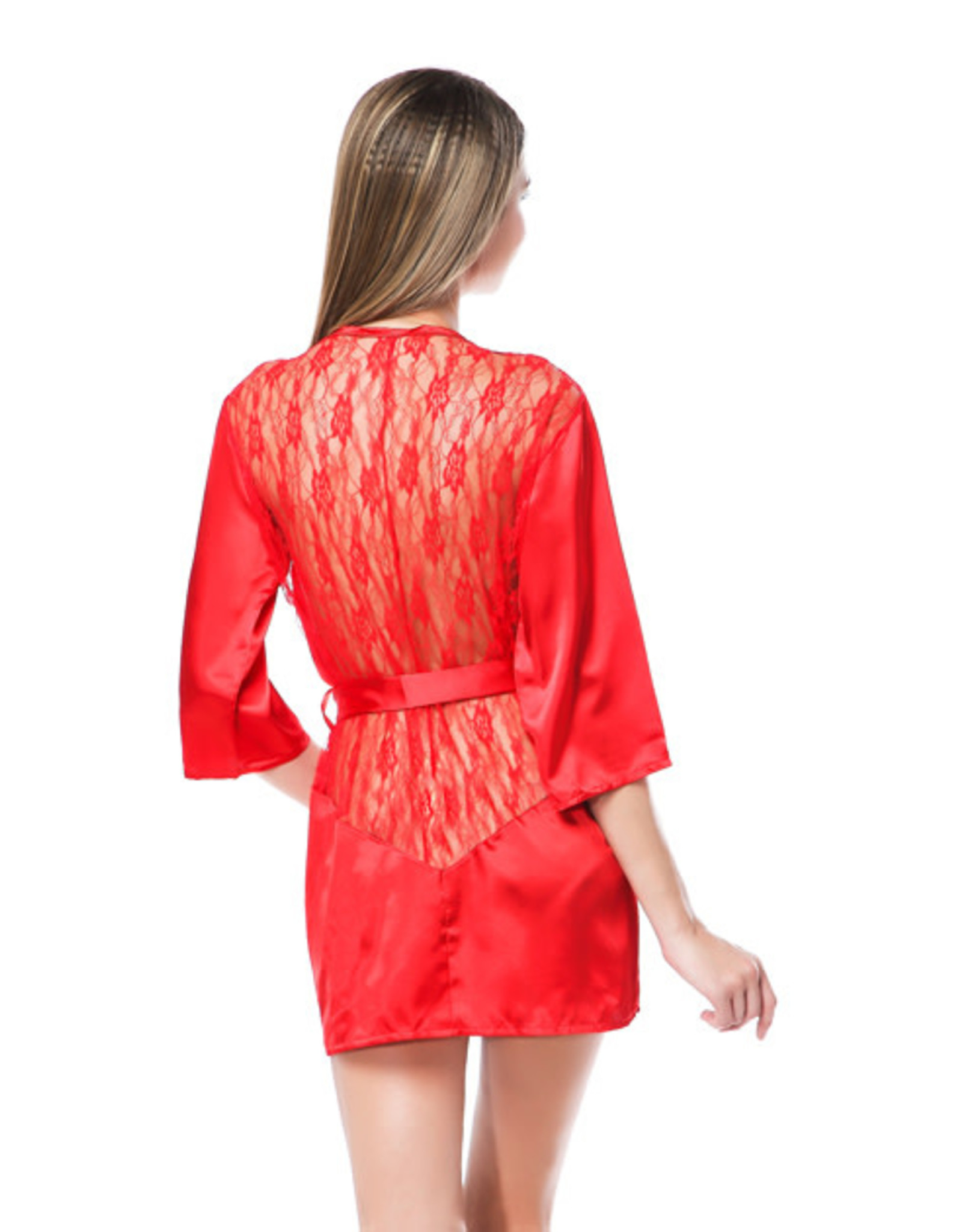 LACE & SATIN ROBE RED