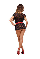 LUV LACE WRAP AND G STRING BLACK - MEDIUM